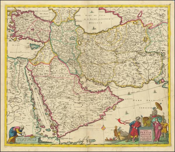 74-Central Asia & Caucasus, Middle East, Arabian Peninsula and Persia Map By Cornelis II Danck