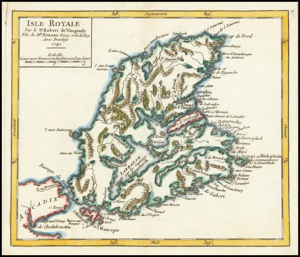 55-Eastern Canada Map By Gilles Robert de Vaugondy