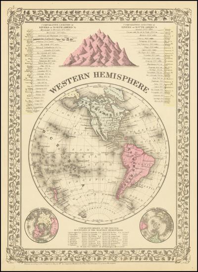 44-Western Hemisphere Map By Samuel Augustus Mitchell Jr.