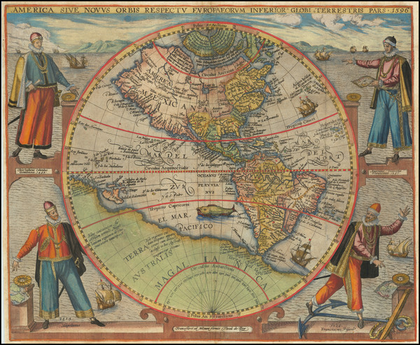 48-Western Hemisphere, North America, South America and America Map By Theodor De Bry