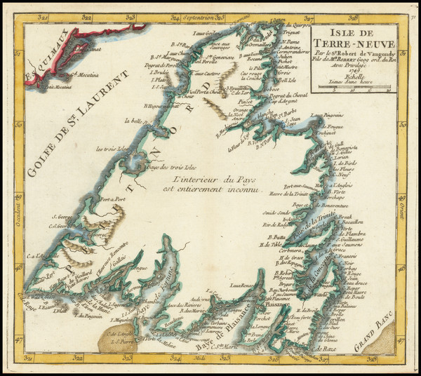 46-Eastern Canada Map By Gilles Robert de Vaugondy