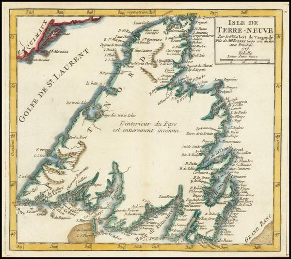 74-Eastern Canada Map By Gilles Robert de Vaugondy