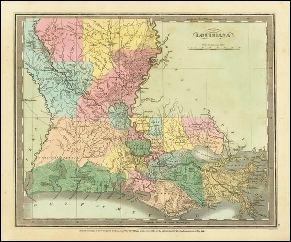 24-Louisiana Map By David Hugh Burr