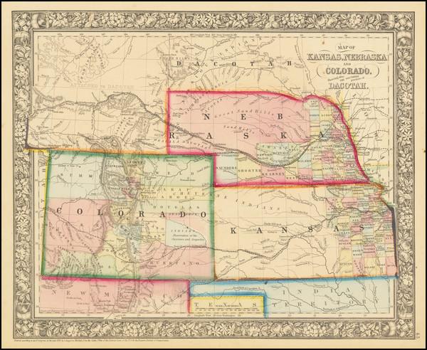 35-Plains, Nebraska, Colorado, Rocky Mountains, Colorado and Wyoming Map By Samuel Augustus Mitche