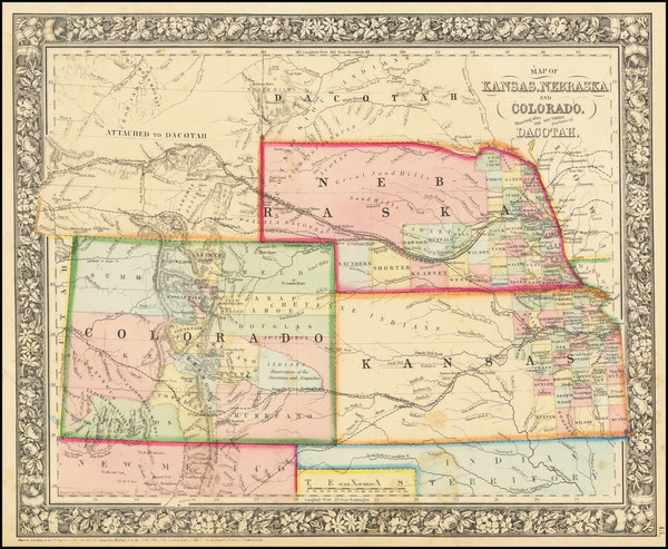 36-Plains, Nebraska, Colorado, Rocky Mountains, Colorado and Wyoming Map By Samuel Augustus Mitche
