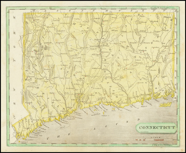 38-Connecticut Map By Aaron Arrowsmith  &  Lewis