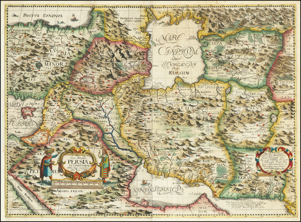 29-Central Asia & Caucasus and Middle East Map By Adam Olearius