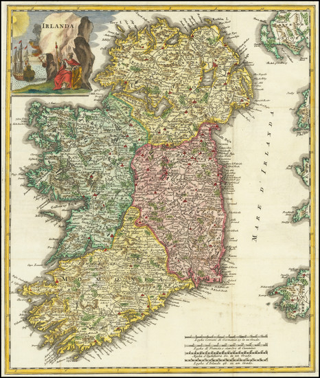 46-Ireland Map By Giambattista Albrizzi