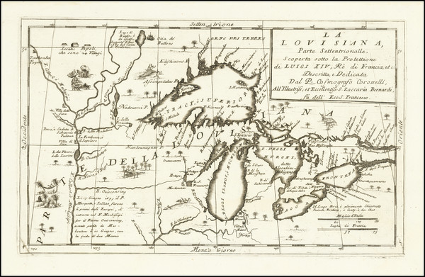 97-Midwest, Michigan, Canada and Eastern Canada Map By Vincenzo Maria Coronelli