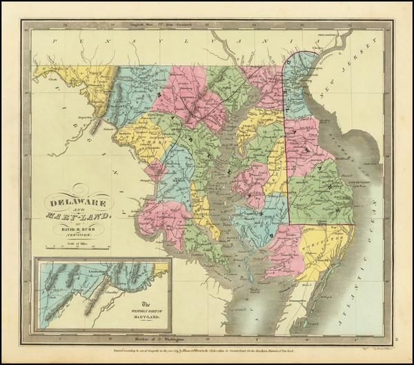 2-Maryland and Delaware Map By David Hugh Burr