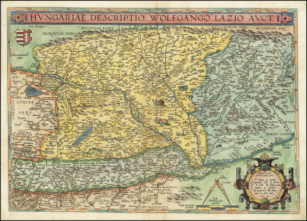 96-Austria, Hungary, Romania and Balkans Map By Abraham Ortelius