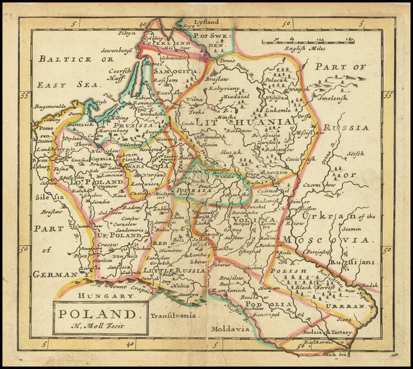 67-Poland and Baltic Countries Map By Hermann Moll