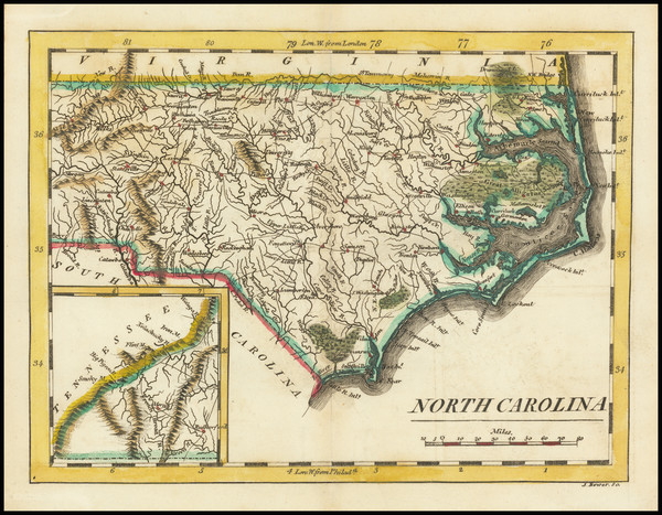 11-North Carolina Map By Mathew Carey