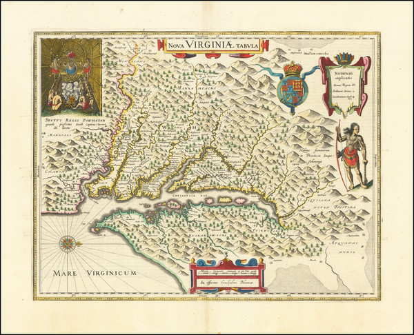 99-Mid-Atlantic, Delaware, Southeast and Virginia Map By Willem Janszoon Blaeu