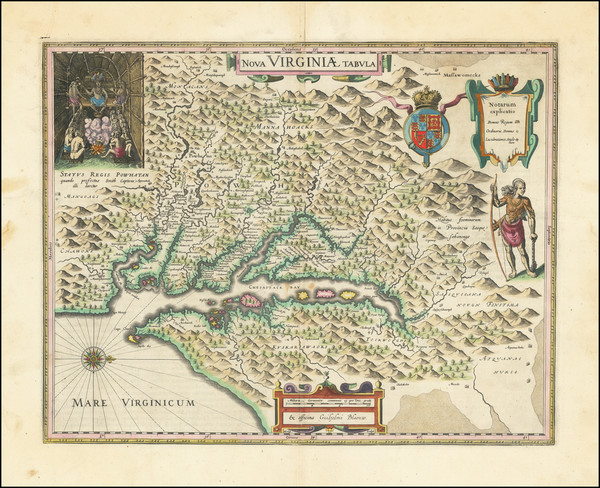 95-Mid-Atlantic, Delaware, Southeast and Virginia Map By Willem Janszoon Blaeu