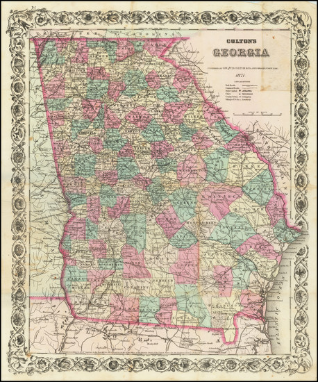1-Georgia Map By G.W.  & C.B. Colton