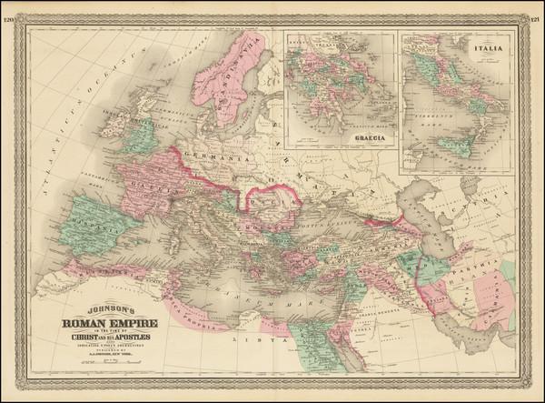 98-Europe, Italy and Mediterranean Map By Alvin Jewett Johnson