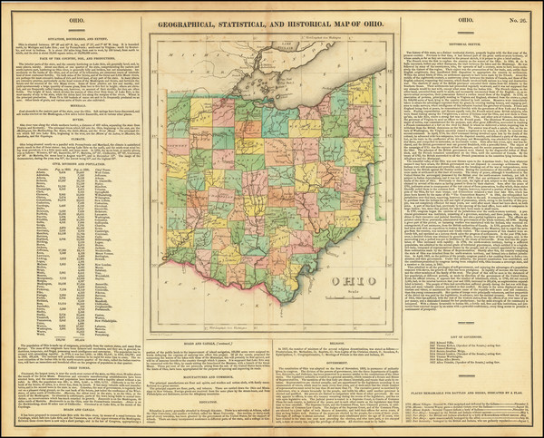 22-Ohio Map By Henry Charles Carey  &  Isaac Lea