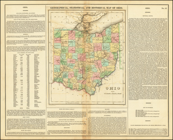 66-Ohio Map By Henry Charles Carey  &  Isaac Lea