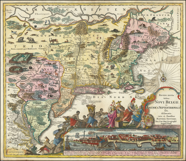 36-New England, New York State, Mid-Atlantic and Canada Map By Matthaus Seutter