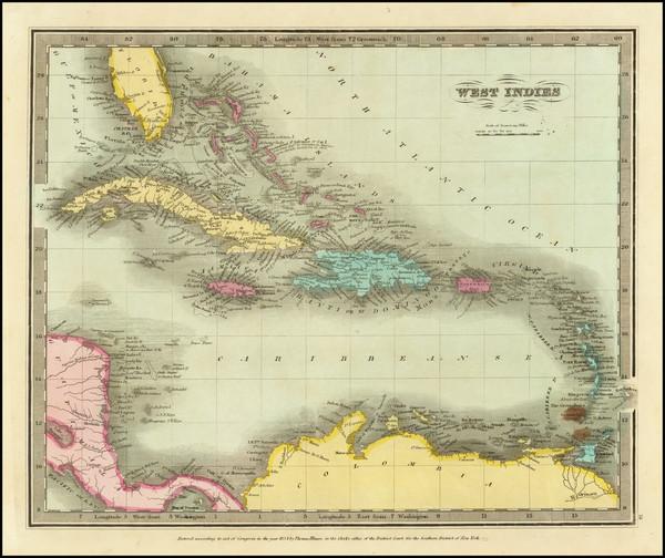 82-Caribbean Map By David Hugh Burr