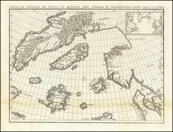 41-Polar Maps, Atlantic Ocean, Scandinavia and Canada Map By Nicolo Zeno