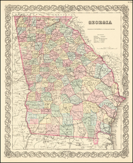 58-Georgia Map By Joseph Hutchins Colton