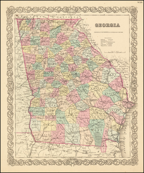 32-Georgia Map By Joseph Hutchins Colton
