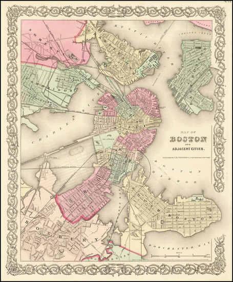 54-Boston Map By Joseph Hutchins Colton