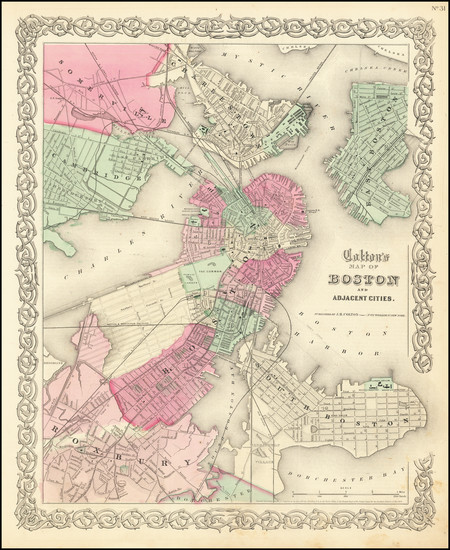 55-Boston Map By Joseph Hutchins Colton