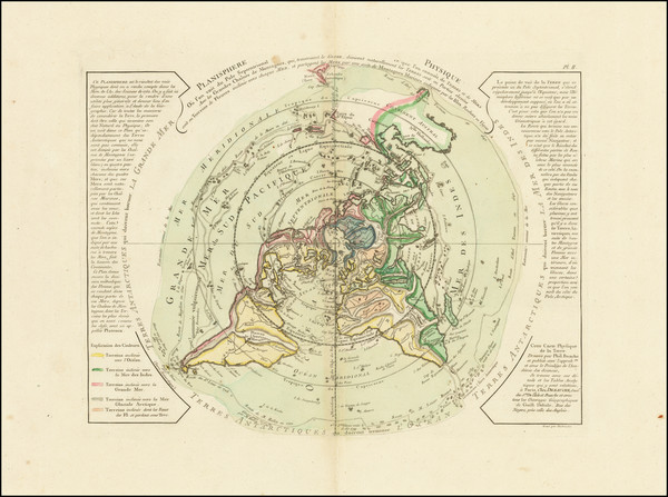 44-World, Northern Hemisphere and Polar Maps Map By Philippe Buache