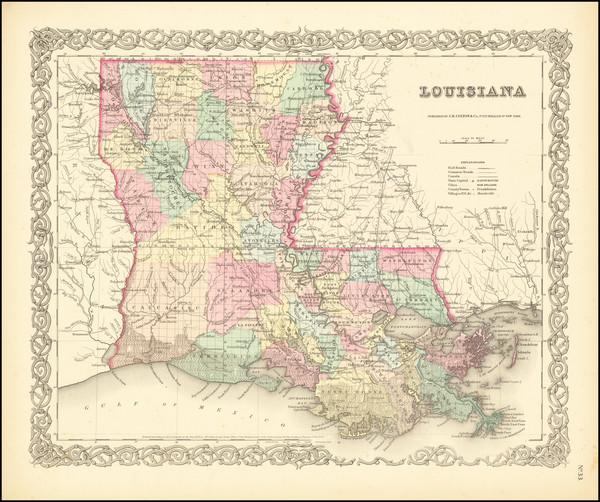 69-Louisiana Map By Joseph Hutchins Colton