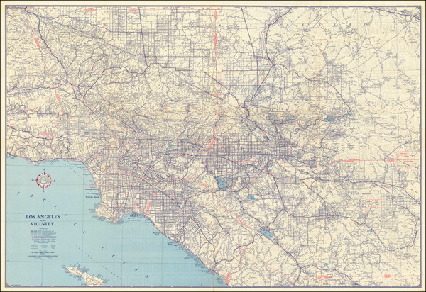 53-California and Los Angeles Map By Automobile Club of Southern California