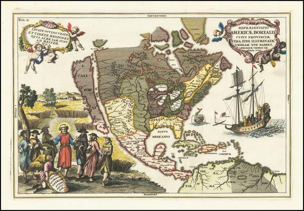 65-North America, Baja California and California Map By Heinrich Scherer
