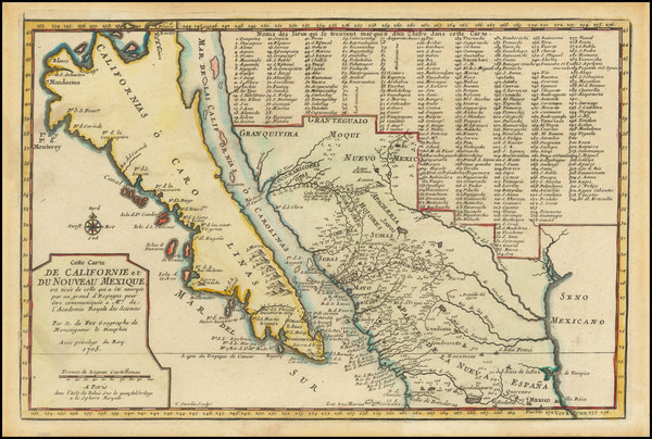 6-Baja California, California and California as an Island Map By Nicolas de Fer