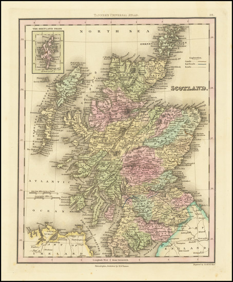 72-Scotland Map By Henry Schenk Tanner