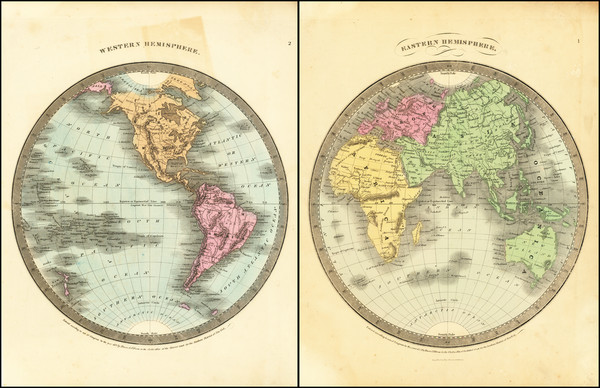 72-World, Eastern Hemisphere and Western Hemisphere Map By David Hugh Burr