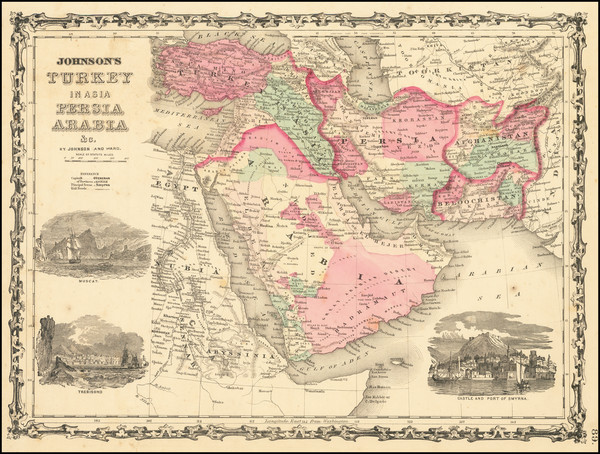 62-Middle East, Arabian Peninsula and Turkey & Asia Minor Map By Benjamin P Ward  &  Alvin