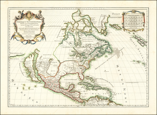 12-North America and California as an Island Map By Nicolas Sanson  &  Alexis-Hubert Jaillot