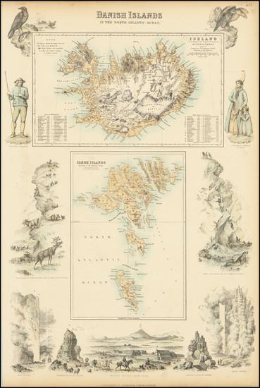 73-Atlantic Ocean, Iceland and Denmark Map By Archibald Fullarton & Co.