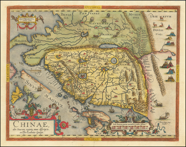5-China, Japan, Southeast Asia and Philippines Map By Abraham Ortelius