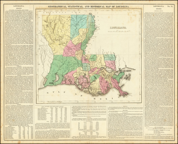 32-Louisiana Map By Henry Charles Carey  &  Isaac Lea