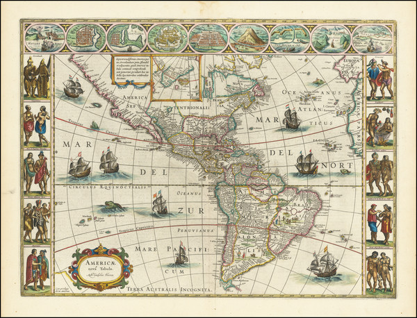 95-America Map By Willem Janszoon Blaeu