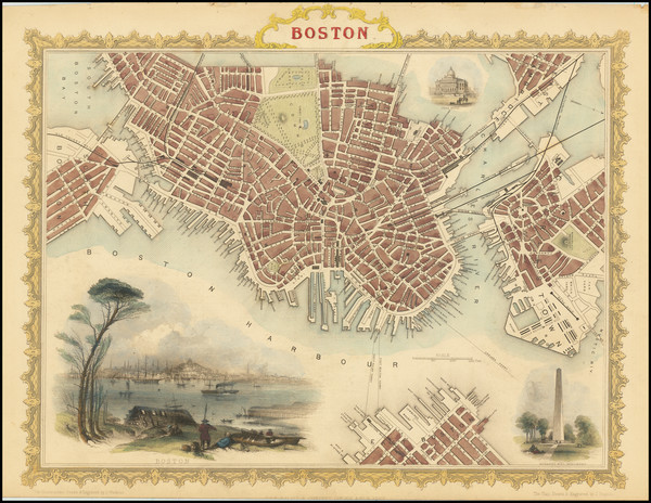 40-Massachusetts and Boston Map By John Tallis