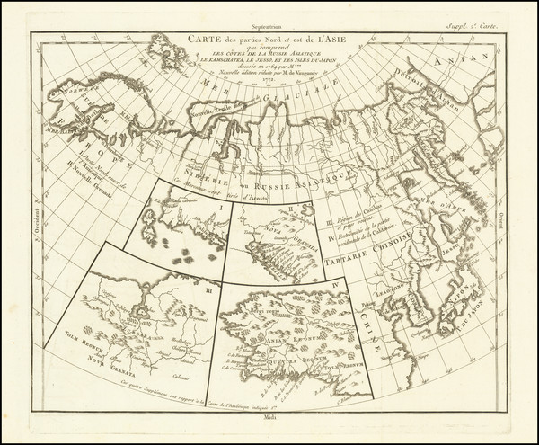 9-Alaska, Asia, Japan and Russia in Asia Map By Denis Diderot / Didier Robert de Vaugondy