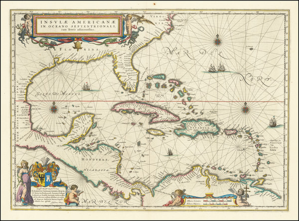 96-Florida, South, Southeast, Caribbean and Central America Map By Willem Janszoon Blaeu