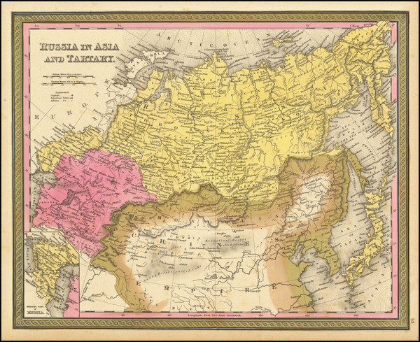 88-China, Central Asia & Caucasus and Russia in Asia Map By Samuel Augustus Mitchell
