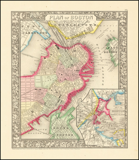 14-Boston Map By Samuel Augustus Mitchell Jr.
