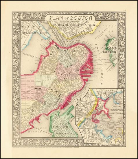27-Boston Map By Samuel Augustus Mitchell Jr.