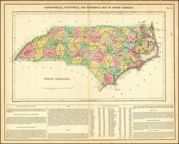 45-North Carolina Map By Henry Charles Carey  &  Isaac Lea